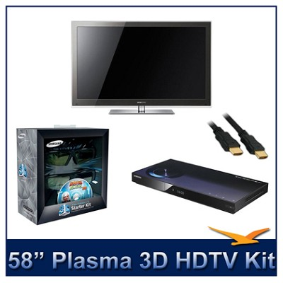 PN58C8000 - 58` 3D 1080p Plasma HDTV Kit w/ 3D Glasses & Blu-Ray Player
