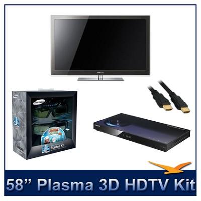 PN58C8000 - 58` 3D 1080p Plasma HDTV Kit w/ 3D Glasses & Blu-Ray Player