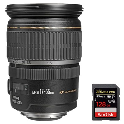 EF-S 17-55mm F/2.8 IS USM Wide Angle Zoom Lens w/ 128GB SDXC Memory Card
