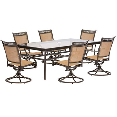 7pc Dining Set: 6 Sling Swivel Chairs 42x84  Glass Dining Table
