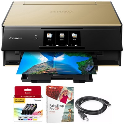 PIXMA 9120 Wireless All-In-One Printer Gold + Paint Shop Pro X9 Bundle