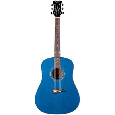 AK48TBL Tradition Acoustic Guitar, Trans Blue with Hardshell Case