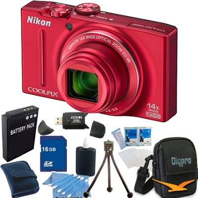 COOLPIX S8200 Red 14x Zoom 16MP Digital Camera 16GB Bundle