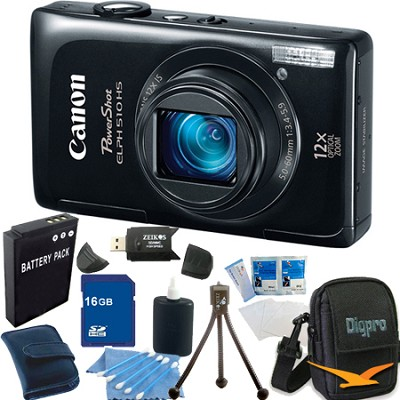 PowerShot ELPH 510 HS Black Digital Camera 16GB Bundle