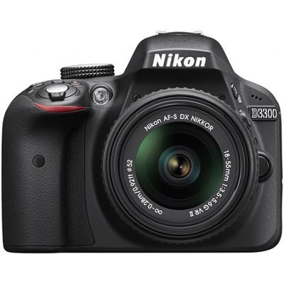 D3300 24.2 MP Digital SLR with 18-55mm VR II Lens (Black)  Factory Refurbished