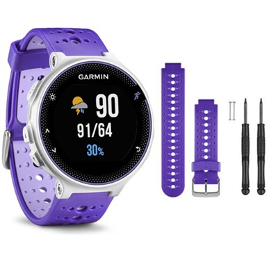 Forerunner 230 GPS Running Watch, Purple Strike - Purple Watch Band Bundle