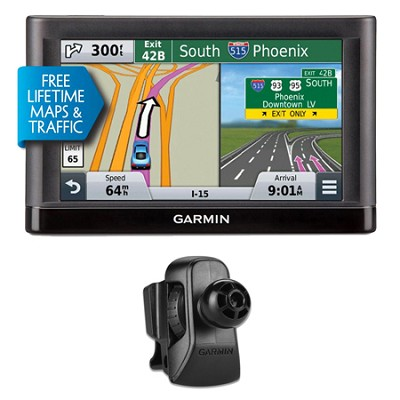 nuvi 55LMT GPS Navigation System with Lifetime Maps & Traffic Vent Mount Bundle