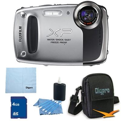Finepix XP50 14MP CMOS Digital Camera 4 GB Bundle (Silver)