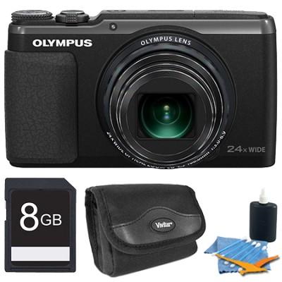 Stylus SH-50 iHS 16MP 24x Wide / 48x SR Zoom HD Digital Camera Black 8 GB Kit