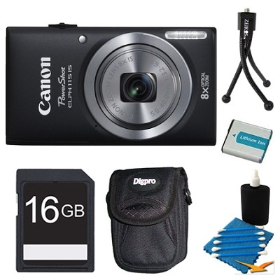 Powershot ELPH 115 IS Black Digital Camera 16GB Bundle