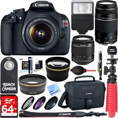 EOS Rebel T5 Digital SLR Camera w/ EF-S 18-55mm IS + EF 75-300mm Ultimate Kit