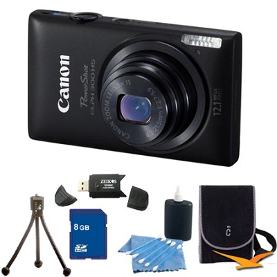 PowerShot ELPH 300 HS Black Digital Camera 8GB Bundle