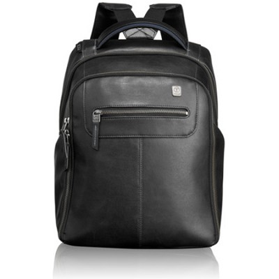 Steel City Slim Backpack Leather 054180D - Black