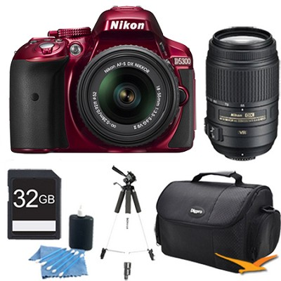 D5300 DX-Format Digital SLR Kit (Red) w/ 18-55mm DX & 55-300mm VR Lens Bundle