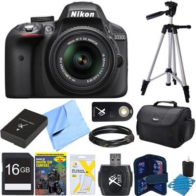 D3300 DSLR 24.2 MP HD 1080p Camera with 18-55mm Lens Black REFURBISHED Bundle