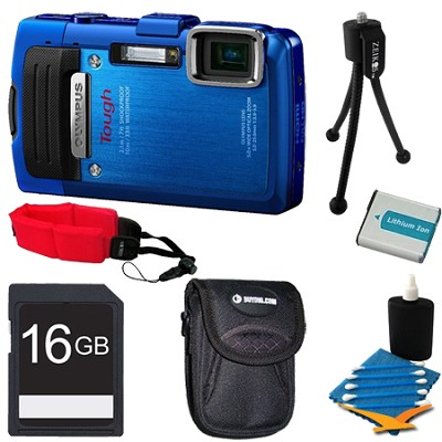 TG-830 iHS STYLUS Tough 16 MP 1080p HD Digital Camera Blue 16GB Kit