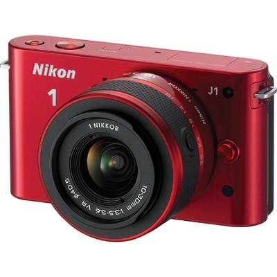 1 J1 Mirrorless Digital Camera w/ 10-30mm VR Lens (Red) Factory Refurbished