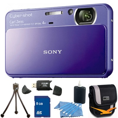 Cyber-shot DSC-T110 Purple Touchscreen Digital Camera 8GB Bundle