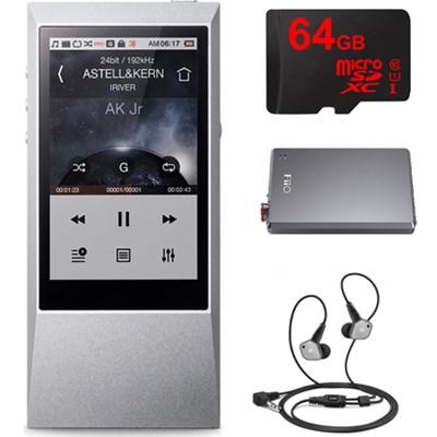 AK Jr. Hi-Res 64GB Music Player w/ In-Ear Headphone + Amplifier + 64gb Bundle
