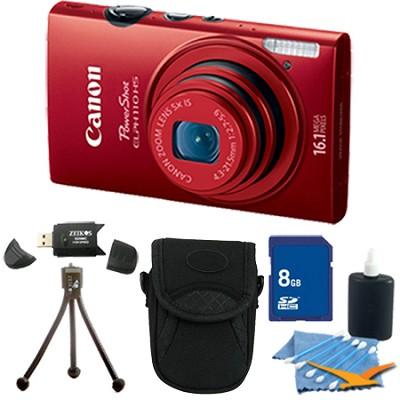 PowerShot ELPH 110 HS 16.1MP Red Digital Camera 5x Zoom HD Video 8 GB Bundle