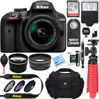 D3400 24.2 MP DSLR Camera w/ AF-P DX 18-55mm VR Lens Kit + Memory Bundle (Black)