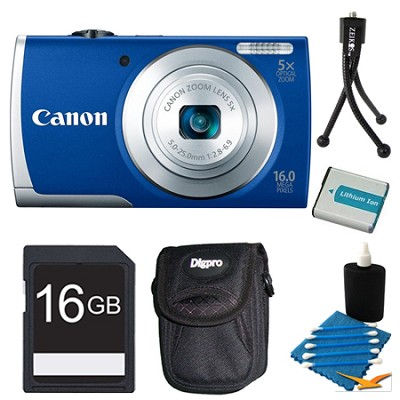 PowerShot A2600 Blue 16MP Digital Camera 16GB Bundle