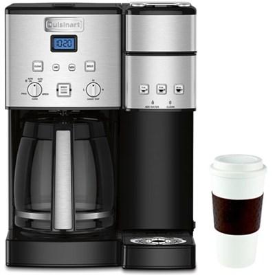 12-Cup Coffee Maker and Single-Serve Brewer w/16 Oz Reusable Mug Brown