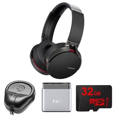 Extra Bass Bluetooth Headphones - Black - MDRXB950BT/B w/ FiiO Amp. Bundle