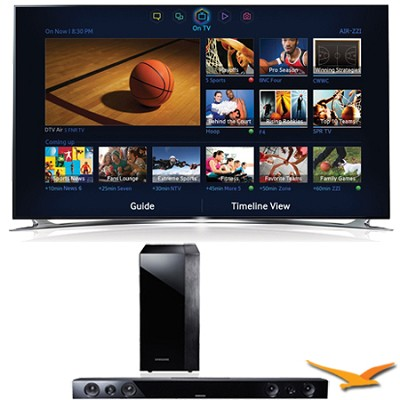 UN60F8000 60` 240hz 1080p 3D Wifi Smart Ultra Slim LED HDTV Sound Bar Bundle