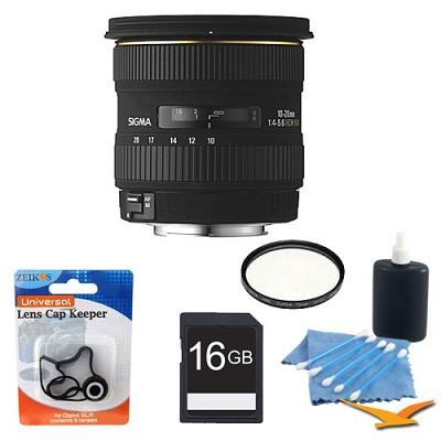 Super Wide Angle Zoom 10-20mm f/4-5.6 EX DC HSM AF Lens W/ UV Filter, 16GB SD