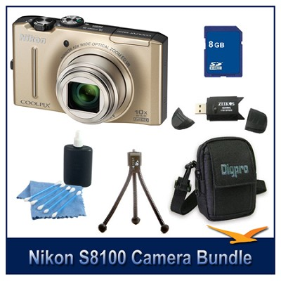 COOLPIX S8100 Gold Digital Camera 8GB Bundle w/ Reader, Case, Tripod & More