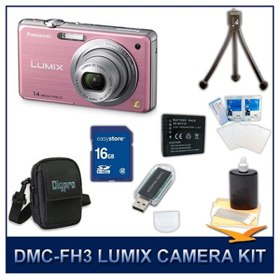 DMC-FH3P LUMIX 14.1 MP Digital Camera (Pink), 16GB SD Card, and Camera Case