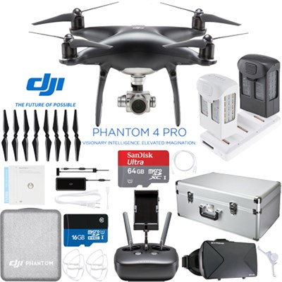 Phantom 4 PRO Quadcopter Drone (Obsidian) + Extra Battery; 64GB and Case