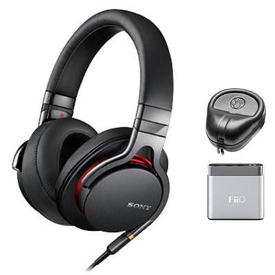 Premium High-Resolution Stereo Headphones - Black w/ FiiO A1 Amplifier Bundle