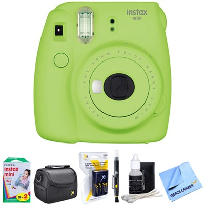 Instax Mini 9 Instant Camera Green with AA Batteries & Charger Bundle