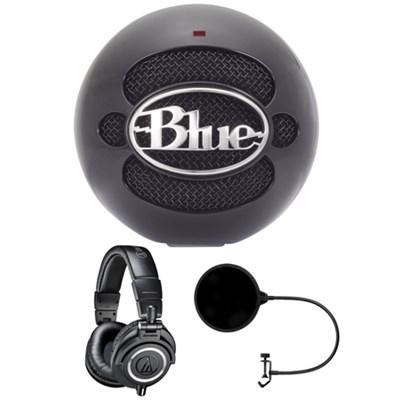 Snowball USB Microphone Gloss Black - SNOWBALLGLOSSBLACK w/ Headphone Bundle