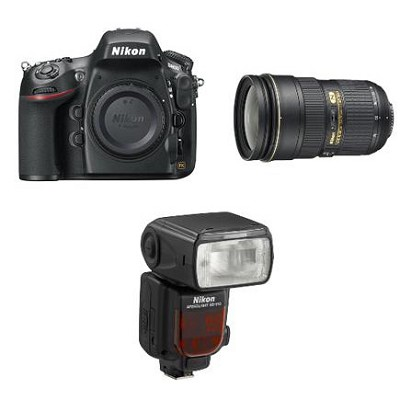 D800 36.3 MP CMOS FX-Format Digital SLR Camera w/ Nikon 24-70mm and SB-910 Flash