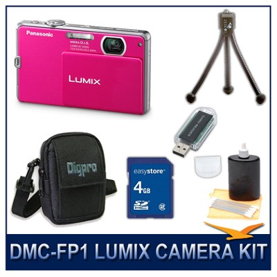 DMC-FP1P LUMIX 12.1 MP Digital Camera (Pink), 4G SD Card, Card Reader & Case