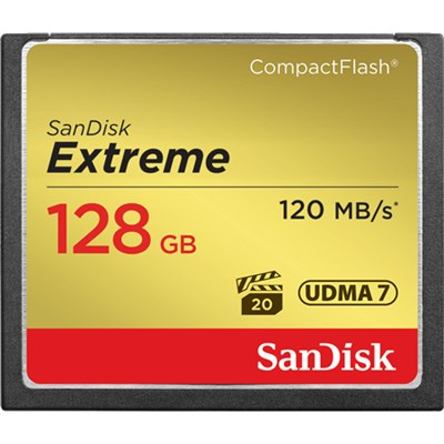 Extreme CompactFlash 128GB Memory Card, UDMA 7, Up to 120 MB/s Read Speed