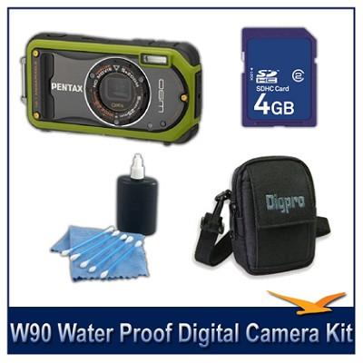 Optio W90 Water Proof Compact Digital Camera 4GB Green Bundle