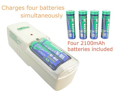 Standard Charger and 4 AA 2100mAh Ni-MH batteries
