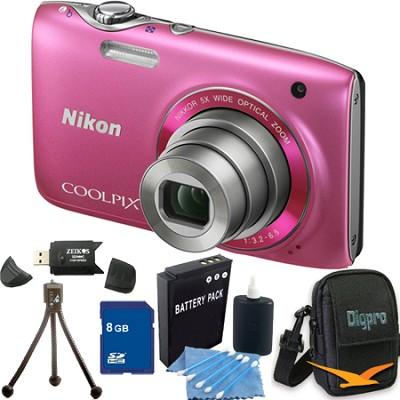 COOLPIX S3100 14MP Pink Compact Digital Camera 8GB Bundle