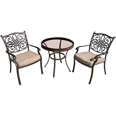 Traditions 3PC Bistro Set: 2 Chairs and 30  Glass Table