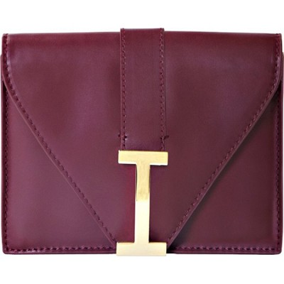Isaac Mizrahi `I` Camera Clutch in Genuine Leather - Burgundy