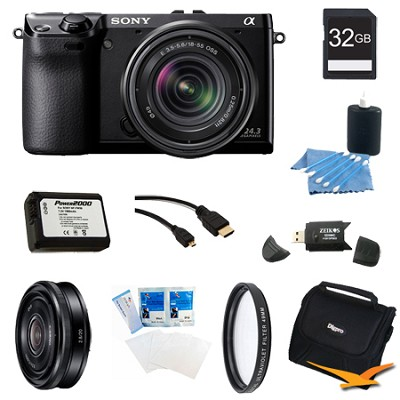 NEX-7K/B Compact Camera with 18-55 Lens 32GB 20mm f 2.8 Lens Bundle