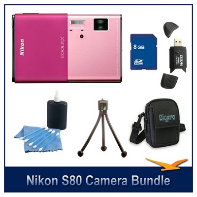 COOLPIX S80 Pink Camera 8GB Bundle w/ Case, Reader, Tripod & More