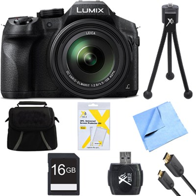 DMC-FZ300K LUMIX FZ300 4K 24X F2.8 Long Zoom Digital Camera Black Bundle