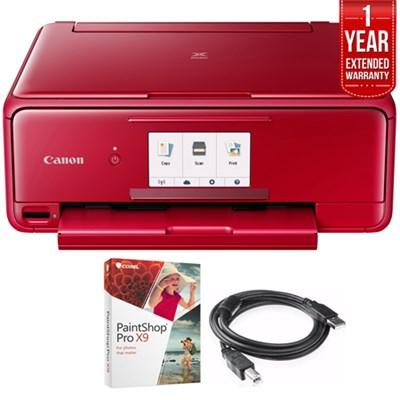 PIXMA TS8120 Wireless Printer w/ Scanner & Copier Red + Warranty Bundle