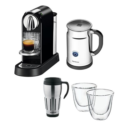 Citiz Espresso Maker w/ Aeroccino Plus Milk Frother w/ Glasses & Travel Mug