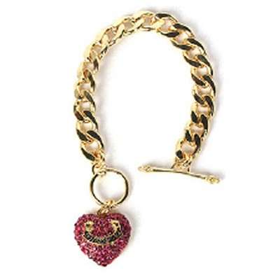 Heart Chain Bracelet - Gold and Red